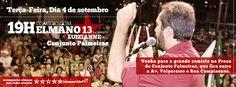 Tem Comício com #Elmano13doPT nesta terça (4), no Conjunto Palmeiras, às 19h! Compareça!