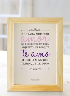 Awwwww me encanto! For my bedroom Favorite Quotes, Best Quotes, Life Quotes, Music Quotes, The Words, Little Bit, Love Notes, Spanish Quotes, Love Gifts