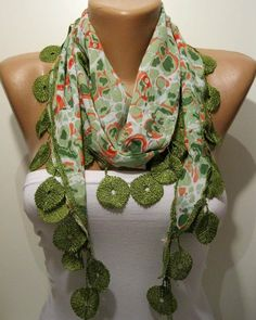 Green and Elegance Shawl / Scarf with Lace Edge by SwedishShop, $13.90