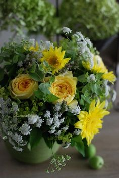 Floral Arrangement ~ Sunflowers and white lace flower