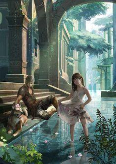 images for anime illustration art Fantasy Inspiration, Character Inspiration, Character Art, Fantasy Places, Fantasy World, Fantasy City, Fantasy Landscape, Fantasy Artwork, Fantasy Characters