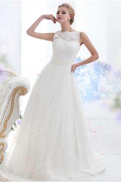 Trendy A Line Illusion Neckline Court Train Tulle Wedding Dress CWXF13001 #cocomelody
