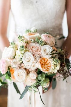 Really beautiful peach and blush vintage bouquet -- perfect for all those shabby chic & vintage loving girls! #cedarwoodweddings | Cedarwood Weddings © Nyk + Cali, Wedding Photographers