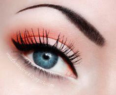 Simple, colourful look using Mandarine eyeshadow (orange eyeshadow) by MakeupGeek. Look by MadamNoire