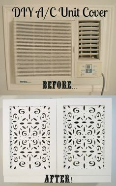 Wall AC unit cover before & after. Home Projects, Home, Bedroom Makeover, Diy Air Conditioner, Home Diy, Wall Unit