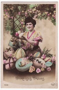 French postcard - Lady with Easter eggs - Antique - Vintage hand tinted real photo postcard - Easter greetings - 1910's