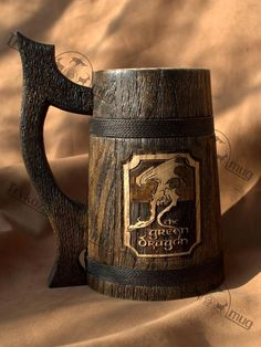 The Green Dragon wooden Beer Mug 0.7 l (23oz), natural wood, handmade, wedding gift, beer tankard, gift for father of groom, grooms gift, gift for him. This handcrafted beer mug is made from real wood. This mug has been thoroughly sealed for a finish that is alcohol resistant and
