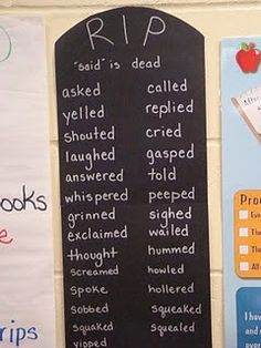 """""""Said"""" is dead word wall. Synonyms for said to spice up writing. Love this idea! 4th Grade Writing, Teaching Writing, Writing Activities, Teaching English, Teaching Resources, Teaching Ideas, Writing Ideas, Writing Resources, Fourth Grade"""