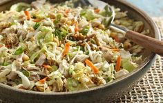 Chinese Chicken Salad: Asian-style salad kit or coleslaw blend, snow peas & radishes, chicken, soy sauce, green onions, mandarin oranges (opt), sesame seeds,  chow mein noodles or dry ramen noodles, sliced almonds, Asian sesame dressing