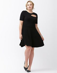 The season's must-own fit & flare dress gets just the right touch of sass from a chic cut-out detail. This soft, stretchy number from ABS Allen Schwartz has all the right moves, with a sophisticated high neck and scoop back, plus short sleeves for any-season wear. lanebryant.com