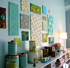 love the tins & coordinating wall art...do this with hoops instead?
