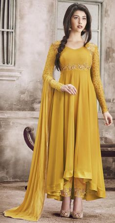 Mustard Yellow Designer Embroidered Georgette Anarkali Suit