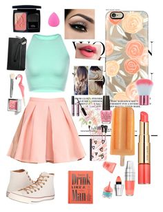 """""""Mint and Peach #1: Summer Pop"""" by gothgirl87454 ❤ liked on Polyvore featuring Estée Lauder, Casetify, Lancôme, Maybelline, Tobi, Converse, Chronicle Books, Mead, Zodaca and New Look"""