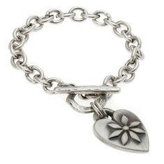 Danon Silver Plated Large Heart Charm Bracelet with Flower Design Was £39.95 Now £31 from Lizzielane.com http://www.lizzielane.com/product/danon-silver-plated-large-heart-charm-bracelet-with-flower-design/