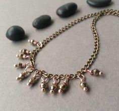 Tiny Dangle Necklace Modern Minimalist Brass by TamiLopezDesigns