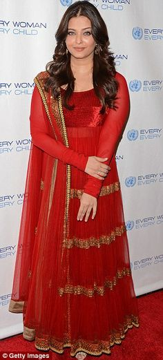 Aishwarya Rai topped her style credentials, often being labelled as the 'World's most beautiful woman', in this ravishing red and gold indian style dress.