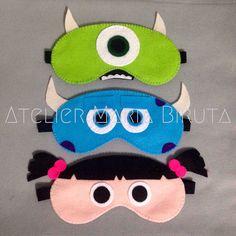 Máscaras de Dormir Monstros S/A   Atelier Maria Biruta   Elo7 Felt Crafts Diy, Crafts To Sell, Sewing Crafts, Sewing Projects For Kids, Sewing For Kids, Crafts For Kids, Cute Sleep Mask, Felt Mask, Felt Patterns