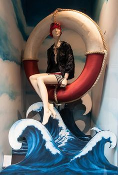 Moncler. Paper waves and ring.  Red, white and blue.