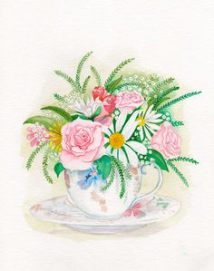 Floral teacup pink www.illustrationbyjoo.com
