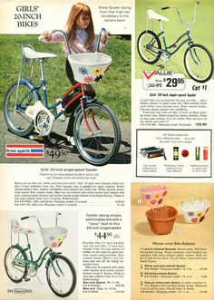 Just the wicker basket would be worth $50. Also available in pink. 1972, Sears Wish Book.