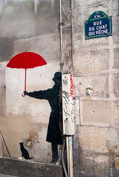 red umbrella - Banksy