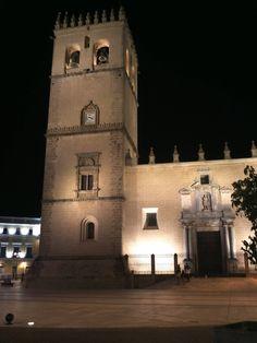 Foto nocturna de la catedral de Badajoz. Extremadura, Spain. España...