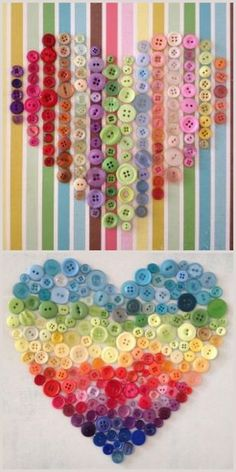 DIY Button Hearts.These are done by gluing buttons on scrapbook paper using craft glue, but you could sew them on fabric. Original sources for button hearts at pompom rouge: top photo here, bottom photo here.