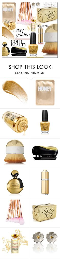 """""""goldbeauty"""" by enwa ❤ liked on Polyvore featuring beauty, BBrowBar, Lapcos, OPI, Artis, Forever 21, Avon, La Prairie, Beauty and polyvoreeditorial"""
