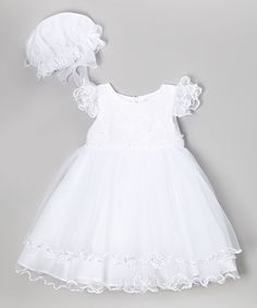 White Layered Tulle Dress & Bonnet - Infant by Shanil #zulily #zulilyfinds