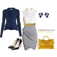 Navy Blazered Dress, created by bridgetteraes on Polyvore