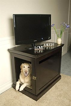 DenHaus TownHaus Indoor Dog House and End Table, Espresso, Large >>> Click on the image for additional details.