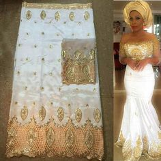 white and gold 5yards African george fabric + 2yards French net lace sets high quality for making fashion dress GLT30