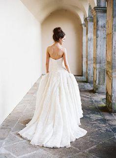 Stunning strapless wedding dress with ruffle detail | www.onefabday.com