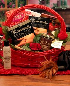 Valentine Romance Massage Gift Basket from Holiday Gifts and Gift Baskets