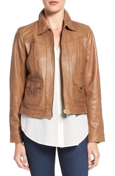 Bernardo Flap Pocket Leather Trucker Jacket available at #Nordstrom