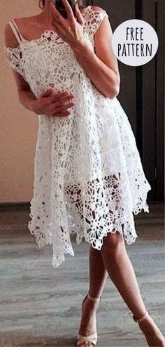 Fabulous Crochet a Little Black Crochet Dress Ideas. Georgeous Crochet a Little Black Crochet Dress Ideas. Crochet Wedding Dress Pattern, Crochet Wedding Dresses, Black Crochet Dress, Wedding Dress Patterns, Sun Dress Patterns, Dress Wedding, Prom Dress, Skirt Pattern Free, Crochet Skirt Pattern