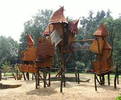 Fantasy Playground - The Netherlands  This playground in Hoenderloo's Landal Miggelenberg park (a bungalow / campground / resort type place), looks ripped from the imagination of Dr Seuss.    Image Credit Marco Raaphorst