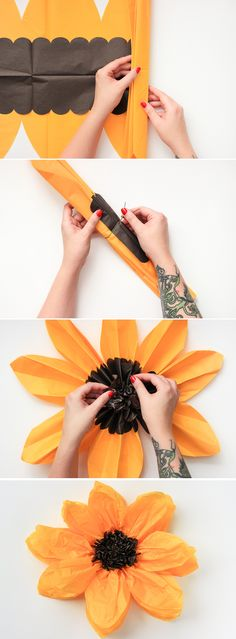 DIY Tissue Paper Flower make in color of petal we are working on, for meeting before mothers day? day flowers DIY Tissue Paper Flower - The Crafted Life Tissue Flowers, Diy Flowers, Fabric Flowers, Wedding Flowers, Making Tissue Paper Flowers, Flowers Decoration, Flower Ideas, Sunflower Decorations, Floral Decorations