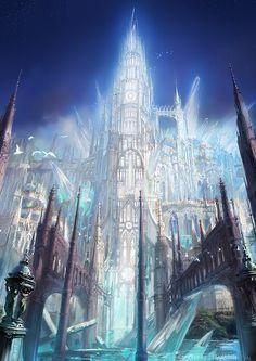Concept art for the game. High Fantasy, Fantasy City, Fantasy Castle, Fantasy Places, Fantasy Kunst, Sci Fi Fantasy, Fantasy World, Fantasy Art Landscapes, Fantasy Landscape