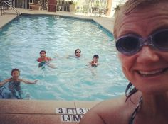 After breakfast and check out the kids and I swim in the pool  #pooltime #swim #travel #familytravel #momlife