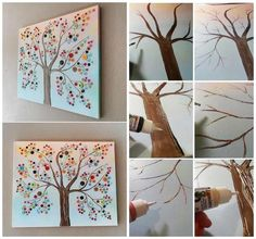 Please Share This Page: Vibrant Button Tree on Canvas – Image To Repin / ShareImage – craftsbyamanda.com Who says that you need to have superb artistic skills in order to create beautiful pieces of art? Simple strokes, colors and shapes can instantly turn a blank canvas into a masterpiece. We discovered a tutorial from Crafts …