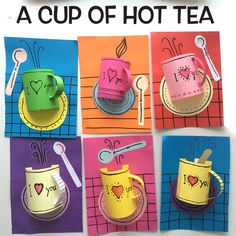 A cup of hot tea Mothers Day Crafts For Kids, Valentine Crafts For Kids, Valentines Art, Paper Crafts For Kids, Crafts For Kids To Make, Preschool Crafts, Art Lessons For Kids, Art For Kids, Teacup Crafts