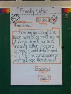 this is a friendly letter anchor chart by olive 1st grade writing teaching writing
