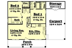 Sq Ft House Plan [Hunter (09 002 315)] from Planhouse Home Plans  - Small house plans under 500 sq ft. I really like this plan, but would try to make bedrooms/closet/master bath/outside storage a little bigger. Maybe do island in kitchen for barstools and still have room for table?
