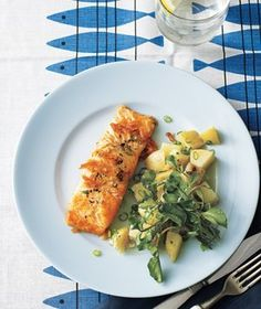 Salmon With Potato Salad | Get the recipe for Salmon With Potato Salad.
