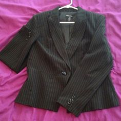 Pinstriped jacket Suit jacket, worn once for an interview ; shell: 63% polyester 33% rayon 4% spandex, lining: % polyester Fashion Bug Jackets & Coats