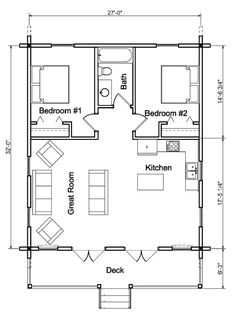 perfect size for small space living or as a retreat! The Hunter Plan (Scroll Down For Floor Plan) Dimensions: W x D Levels: 1 TOTAL Square Footage: 864 Bedrooms: 2 Baths: 1 Covered Porch 2 Bedroom House Plans, Cottage Floor Plans, Small House Floor Plans, Cottage House Plans, Small Cabin Plans, Log Cabin Plans, Cabin Floor Plans, The Plan, How To Plan