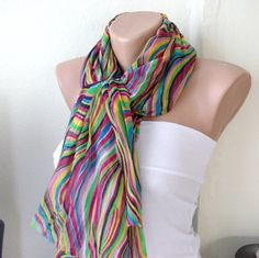 Rainbow Colors Cotton Long Scarf with wrinkle by Periay on Etsy, $22.00