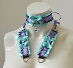 Kitten play collar and cuffs - Secret embrace - ddlg cgl princess cute neko soft bdsm proof set - pastel blue and violet choker set