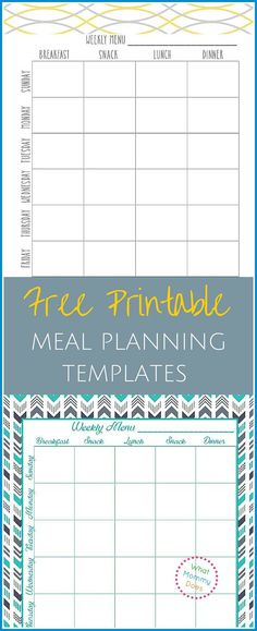 Free Printable Weekly Meal Planning Templates (and a weeku0027s worth - menu for the week template